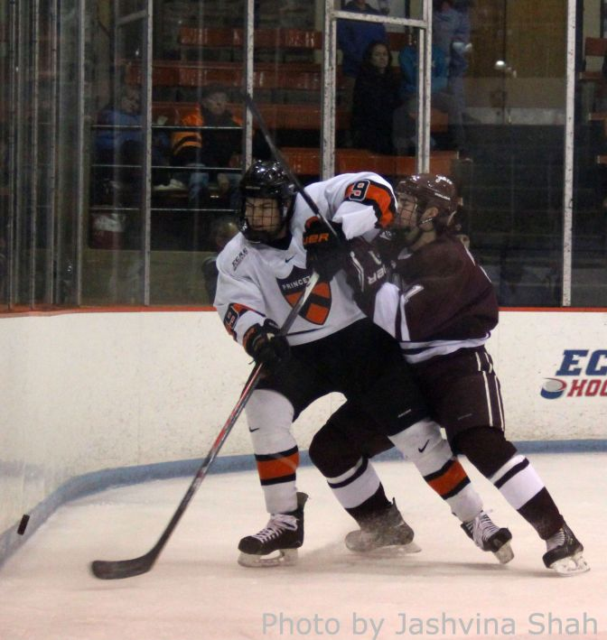 Colgate's Jake Kulevich and Princeton's Jack Berger