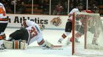 Princeton's Colton Phinney stretches to make a save
