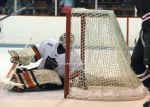 Colton Phinney tries to cover the puck on Sam Lafferty's goal